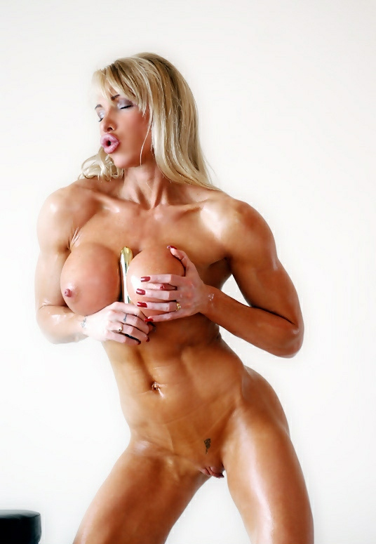image Nude female bodybuilder gets worshiped by 2 guys