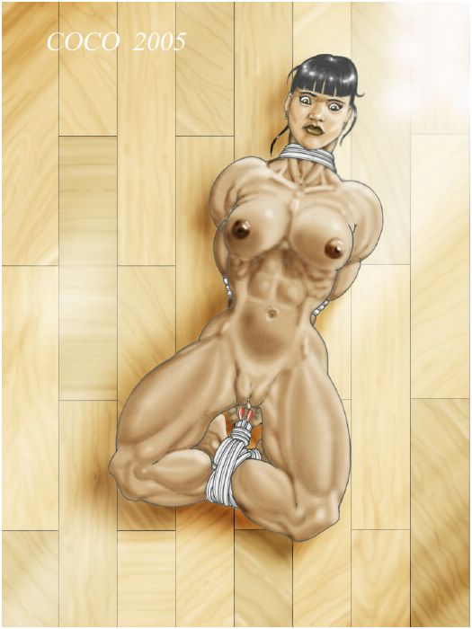 Bodybuilder women in bondage art