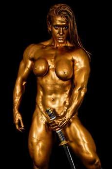 Golden Nude Female Bodybuilder Picture