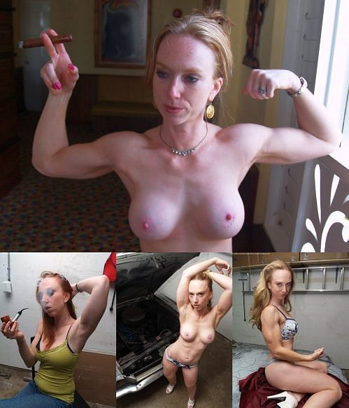 Female Bodybuilder Red Stripe Picture