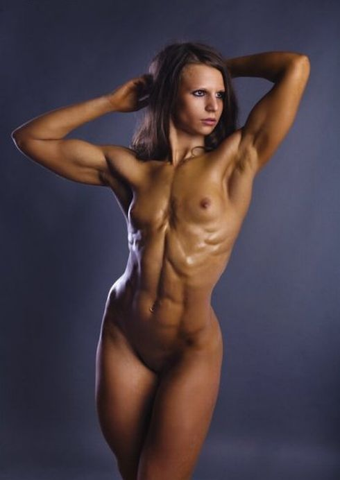 Topless female russian muscle