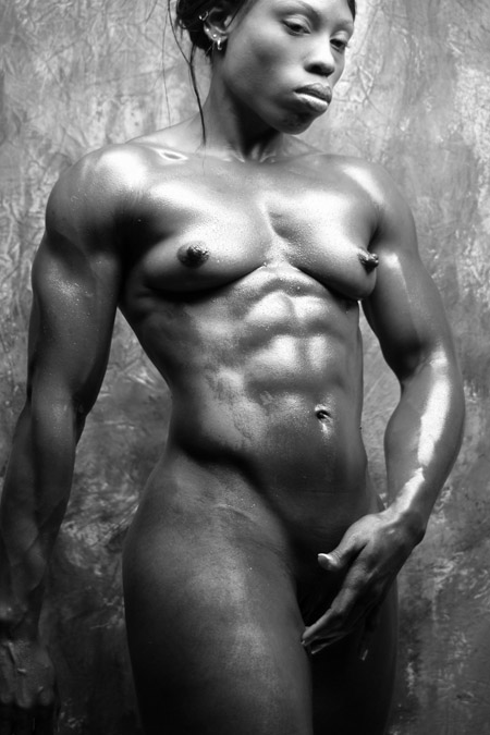 nude female bodybuilders in black and white